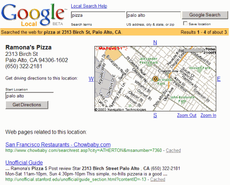 Google Local results used a map from MapQuest (2004)