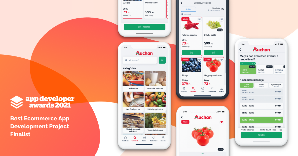 Az Auchan számára készített mobil app az öt legjobb e-commerce app fejlesztési projekt között