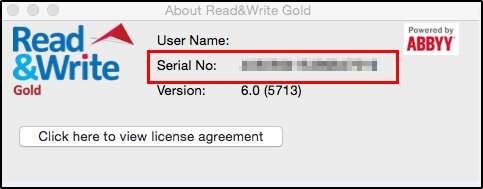 Read&Write serial number window