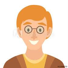 Flat cartoon man vector icon.Man icon illustration.Scientist in  glasses.Face of smart people icons cartoon style.Young people head flat  icons.Isolated avatar on white background Stock Vector   Adobe Stock