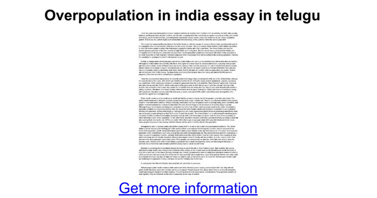 Overpopulation essays