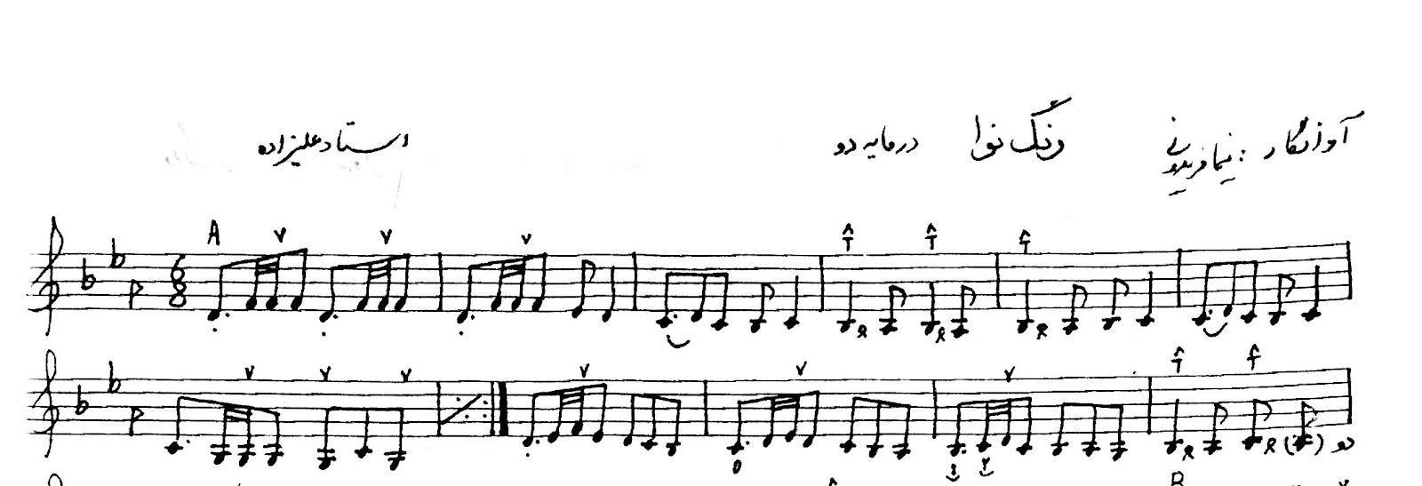 نت رنگ نوا دو و فا (کنسرت نوا) حسین علیزاده آوانگار نیما فریدونی نسخهی دستنویس