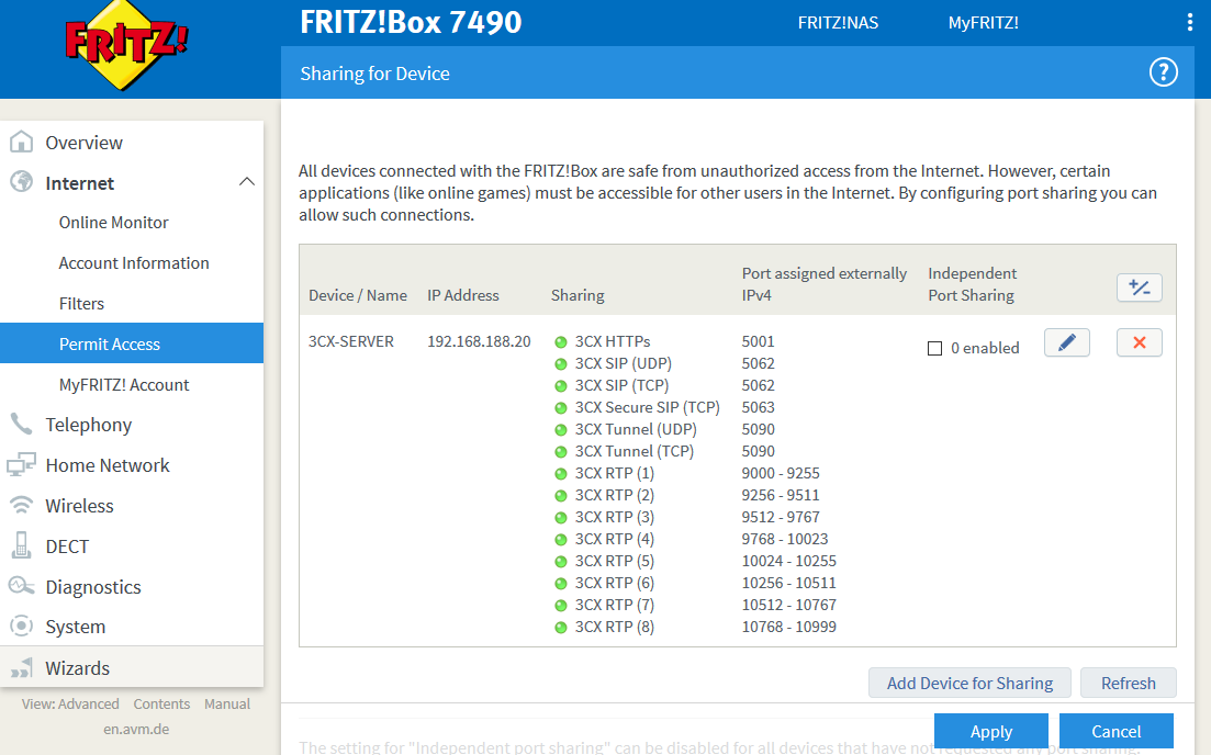 Configure Port Forwarding (NAT) on Fritz!Box 7490
