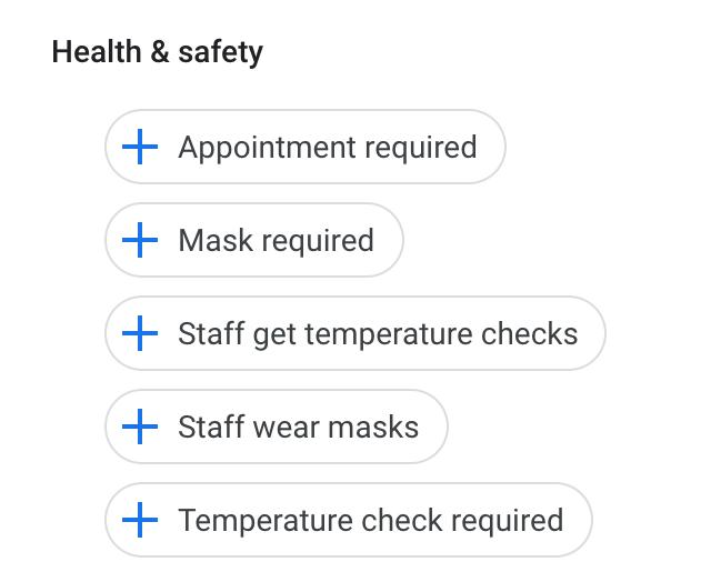 Google My Business добавил новый раздел «здоровье и безопасность»