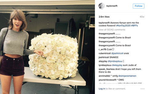 Image result for taylor swift flowers from kanye post