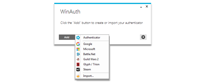 Elegir la opción de google en WinAuth