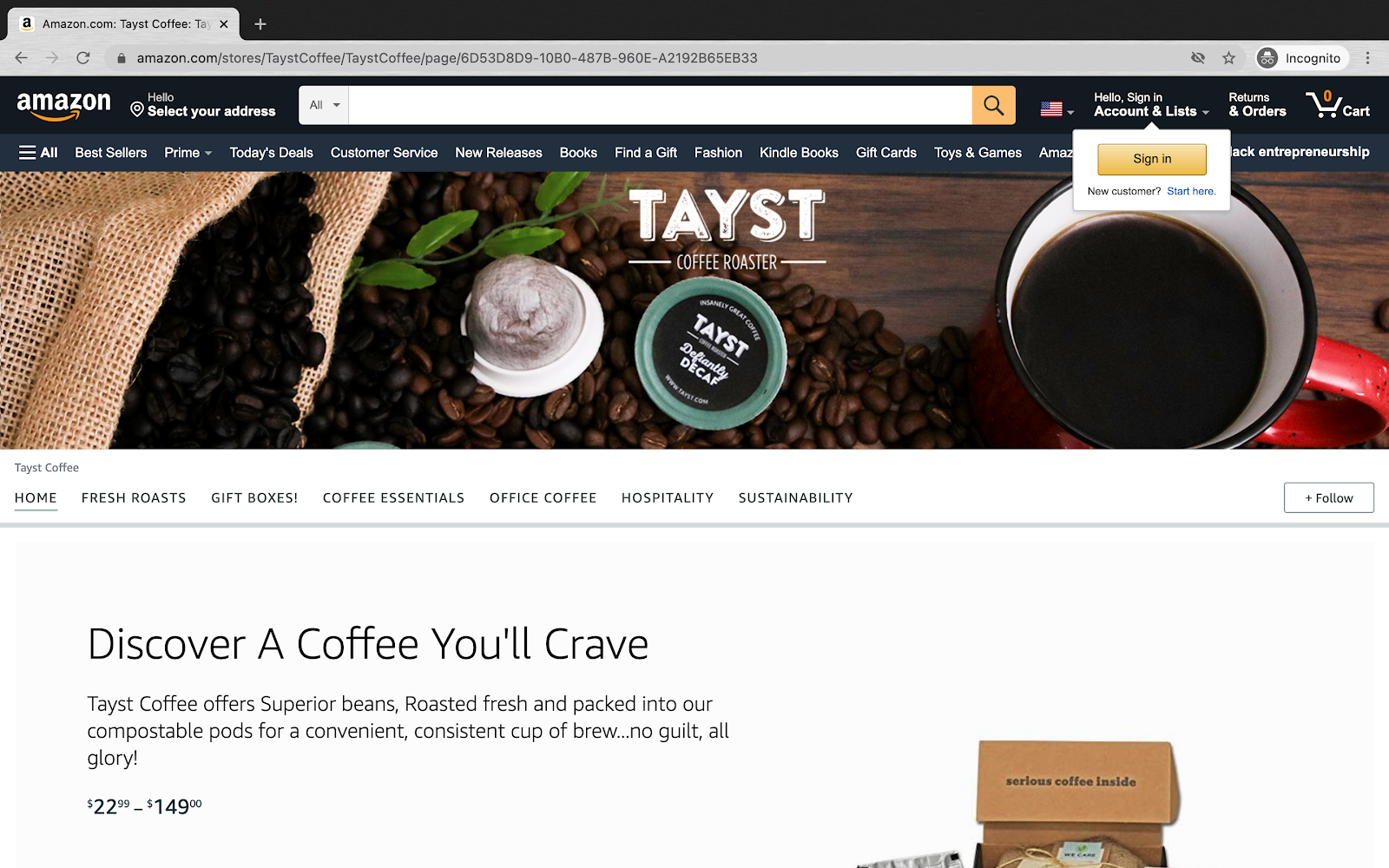Amazon Storefront Example with Tayst Coffee Roasters