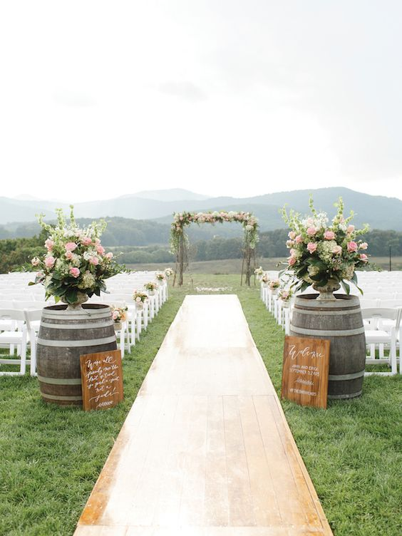 outdoor wedding aisle wood