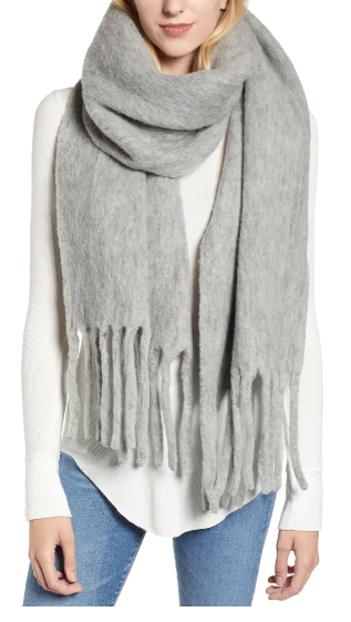 wool grey blanket scarf