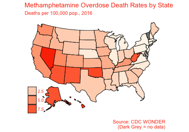 A chart of the United States showing overdose death rates due to Meth.