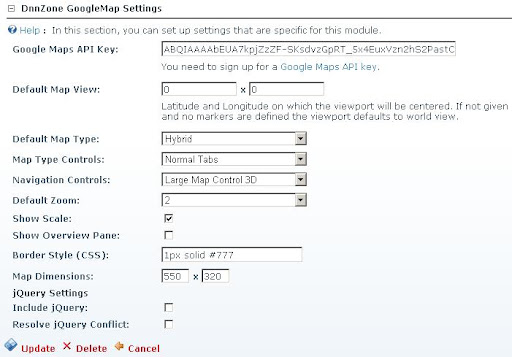 Google Map - Settings