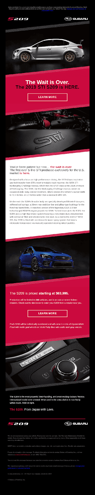 Subaru product launch email