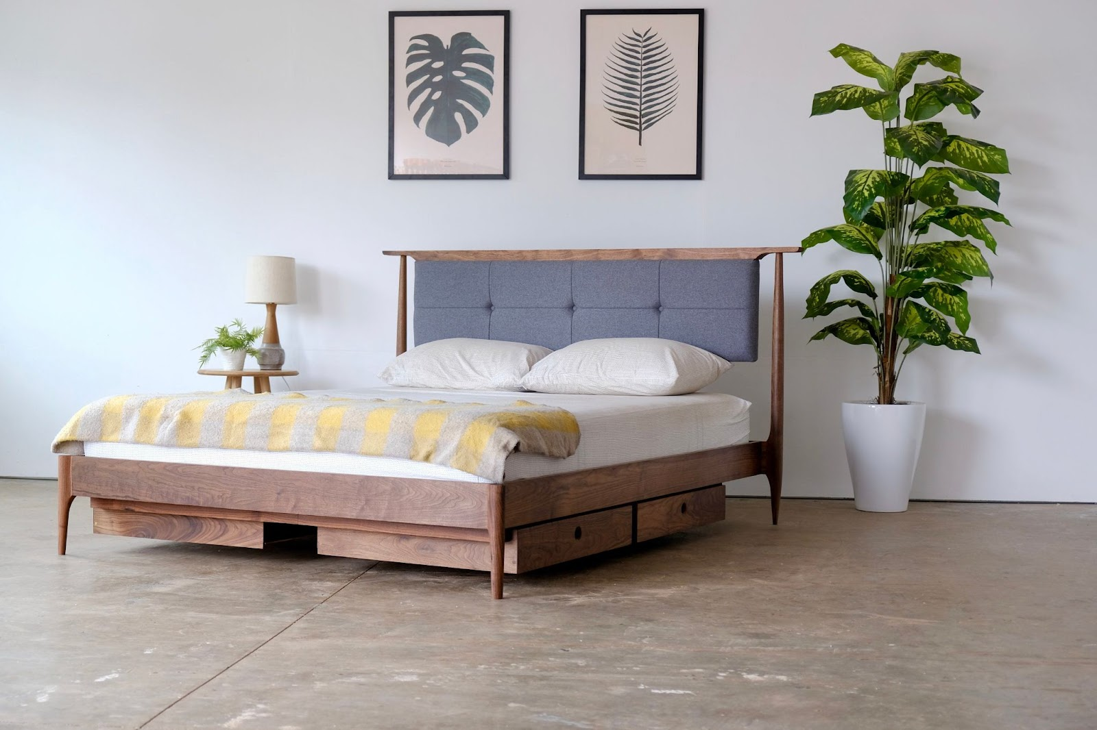 Mid Century Modern Walnut Platform Bed