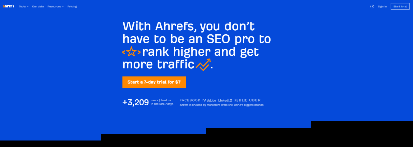 analytical tool - Ahrefs