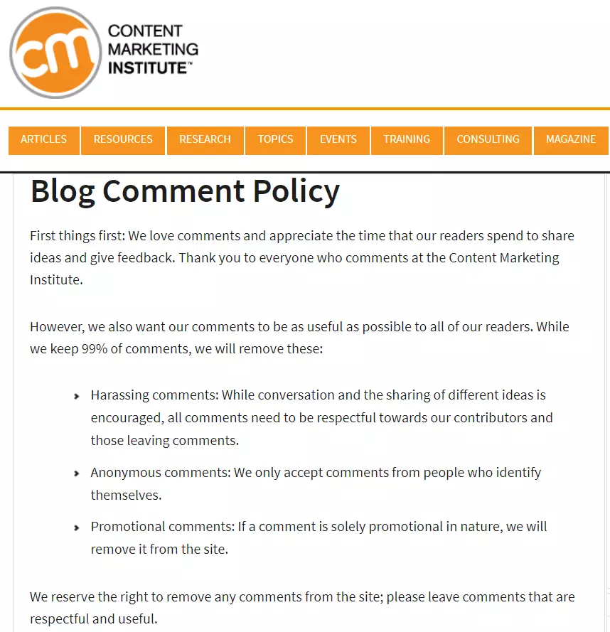 Blog Comment Policy   Content Marketing Institute   How to Handle Internet Trolls