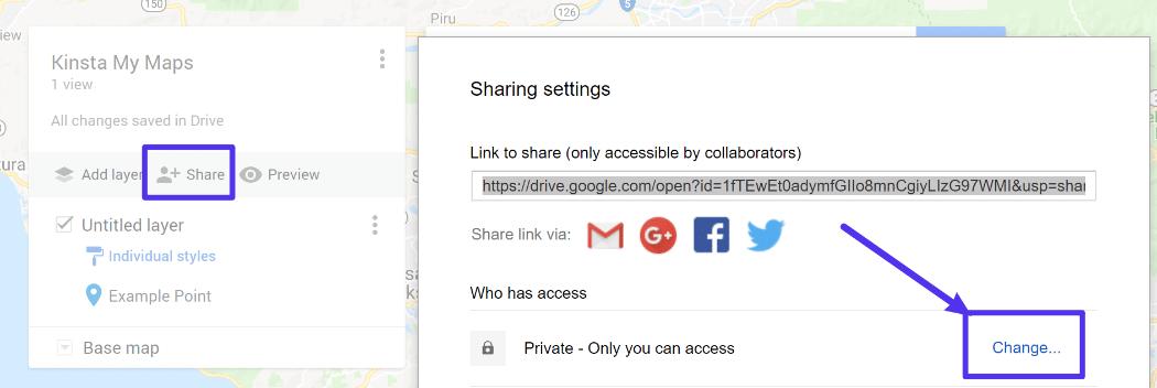 Google My Maps sharing settings