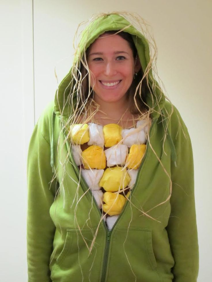 A person in a DIY corn on the cob Halloween costume