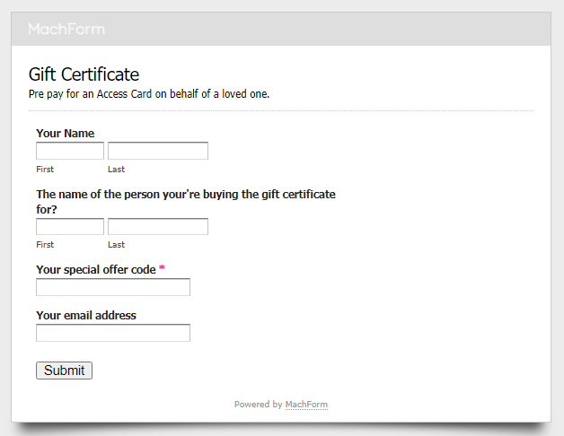 gift certificate web form