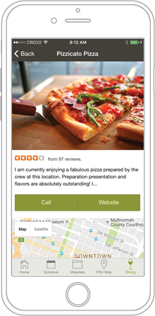 Drawing of phone with Pizzicato Pizza written at the top, a photo of a slice of pizza just below it, a Yelp review below that and a map at the bottom