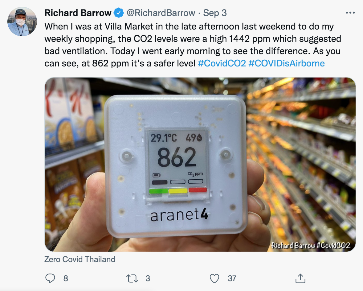 CO2 monitor in grocery story