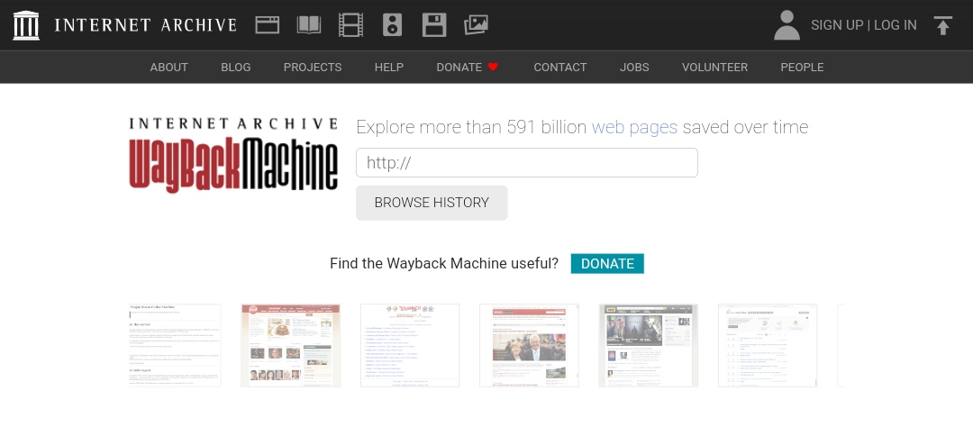 Screenshot of Internet Archive Wayback Machine homepage