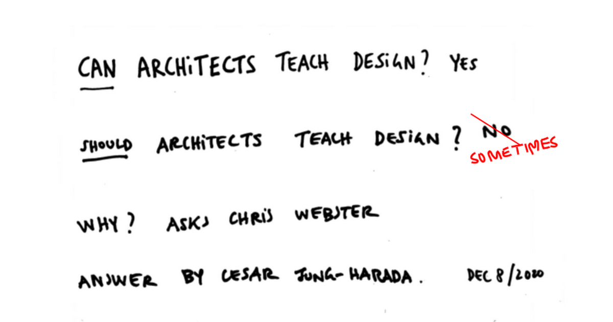 Can Design be taught by Architects?