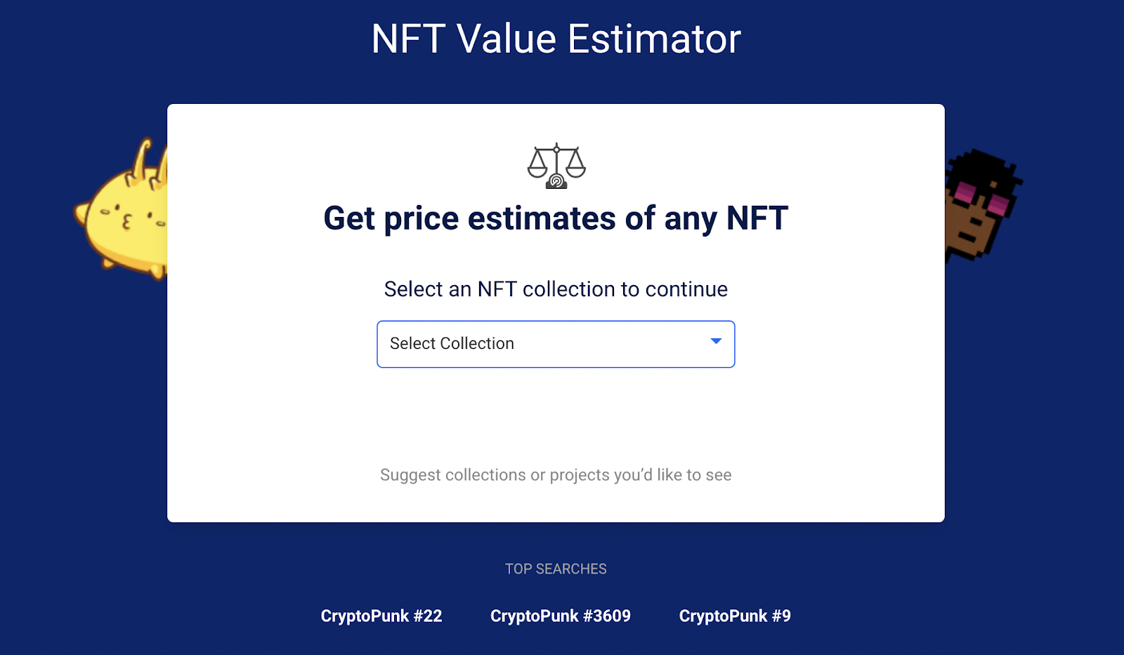 Image of how to get your NFT price estimate.