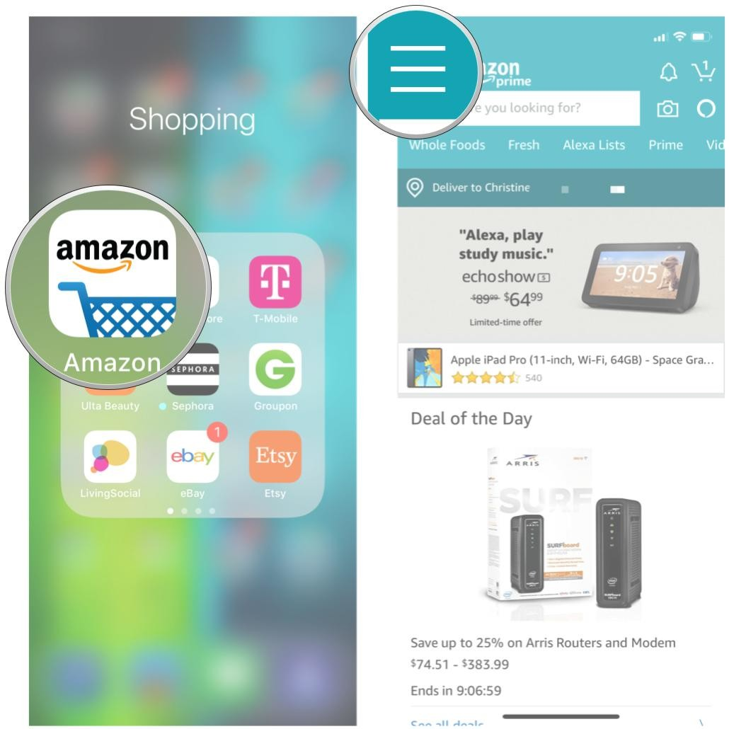 amazon app and menu section