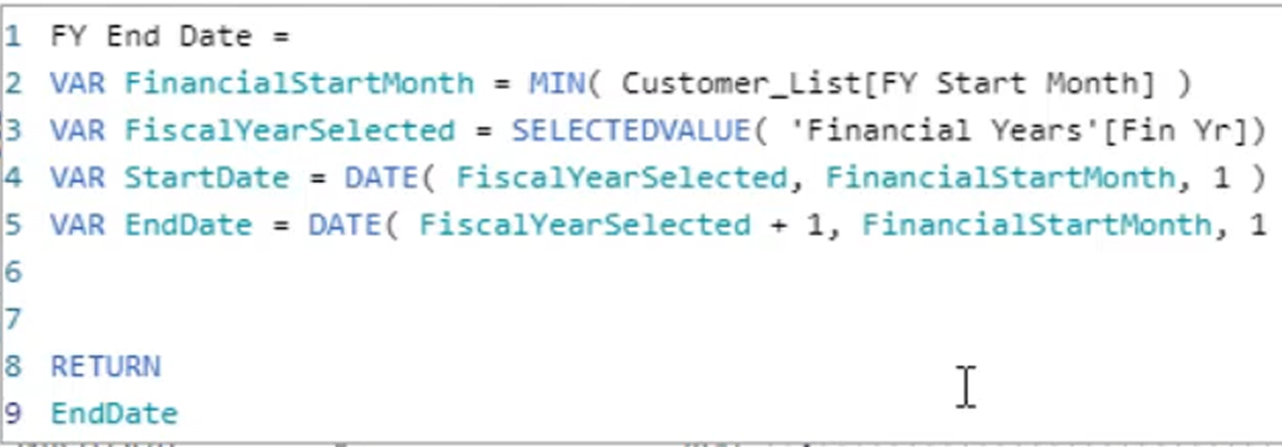 financial year end date calculation