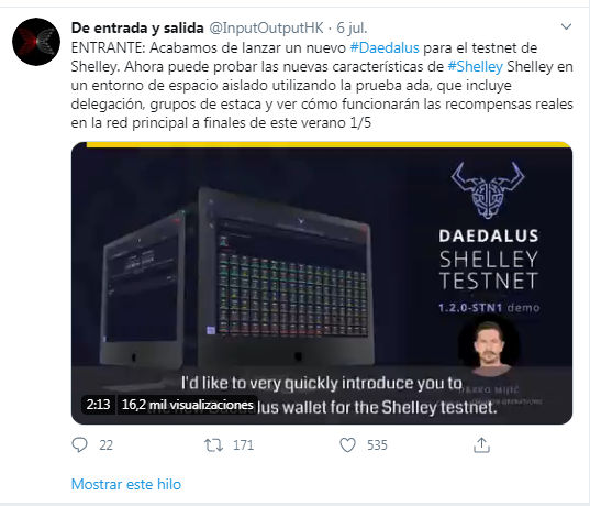 Anuncio del lanzamiento del monedero Daedalus. Fuente: Twitter InputOutputHK