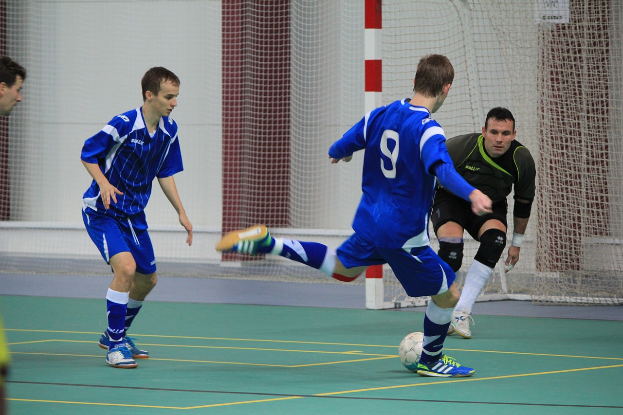 Shooting on goal during Indoor Soccer