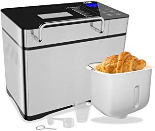 KBS 750W Bread Maker with Auto Fruit Nut Dispenser, 2.2LB XL Capacity Bread Machine with Nonstick Ceramic Pot, 17 Smart Pr...