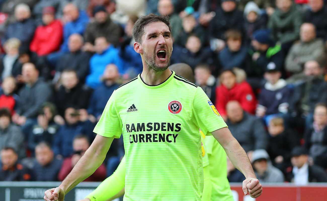 Sheffield United defender Chris Basham celebrates scoring a goal