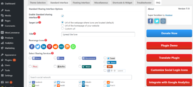 Image of Super Socializer Theme Selection tab