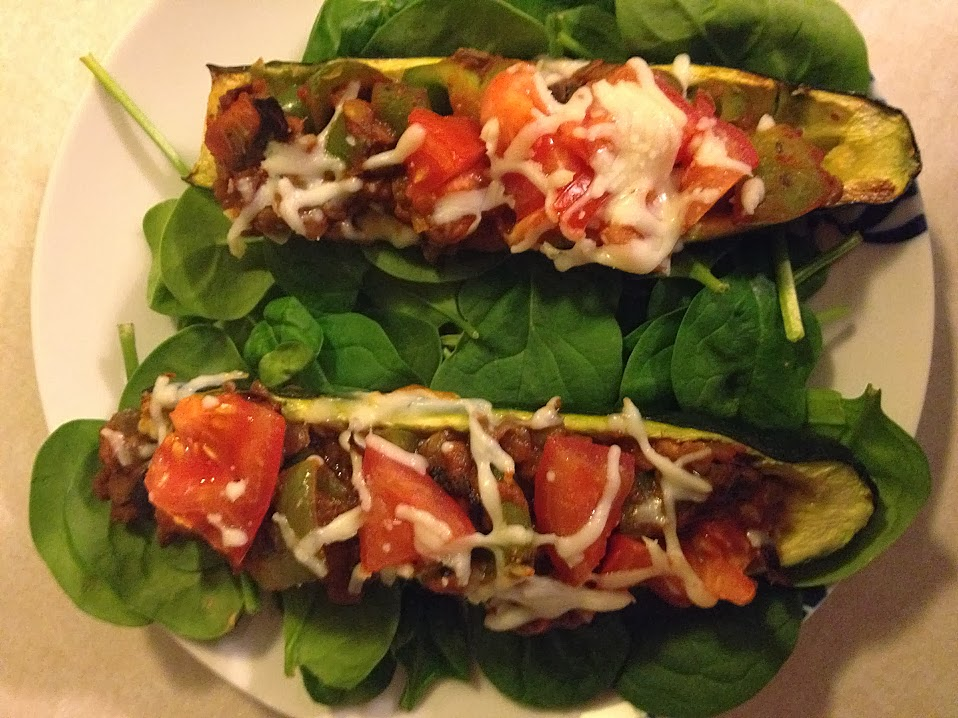 Zucchini boats with spinach