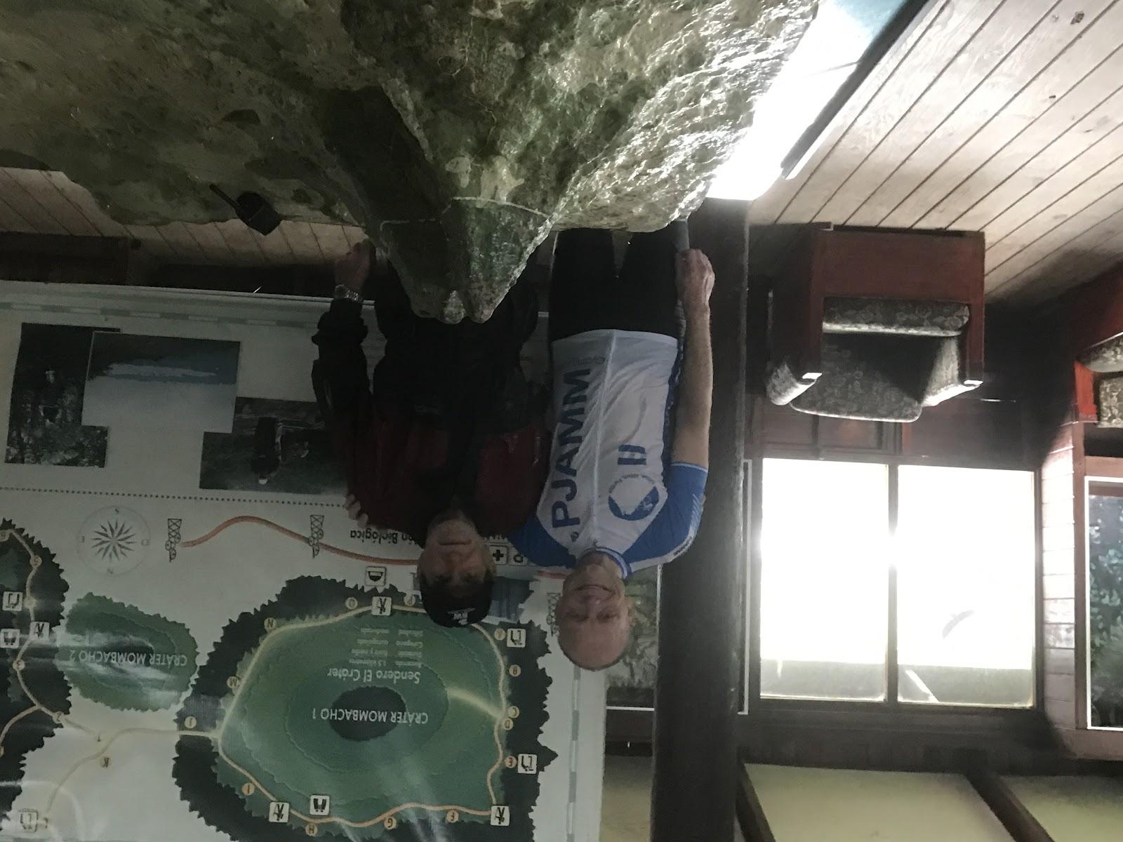 Bicycling Mombacho Volcano - John Johnson and Preserve Director Guellermo Arguello in Visitor Center