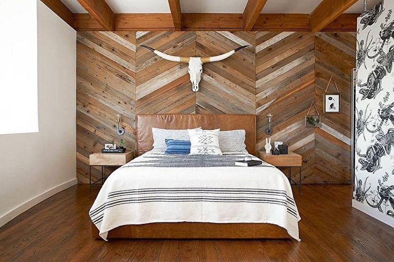 Ламинат на стене в интерьере спальни - фото