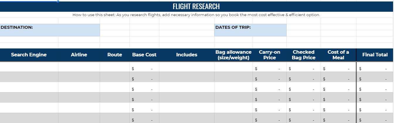 Flight planner spreadsheet