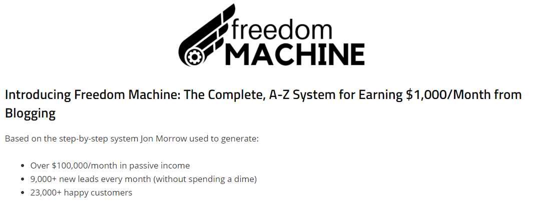 Introducing Freedom Machine: The Complete, A-Z System for Earning $1,000/Month from Blogging by SmartBlogger
