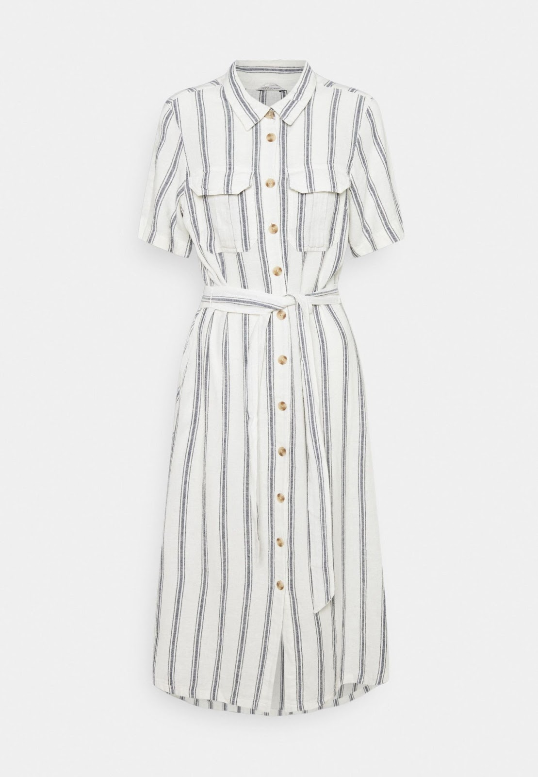 Robe chemise blanche à rayures