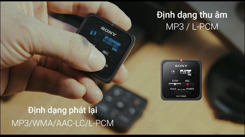 Máy ghi âm Sony ICD TX800/BCE (Đen) | Định dạng thu âm