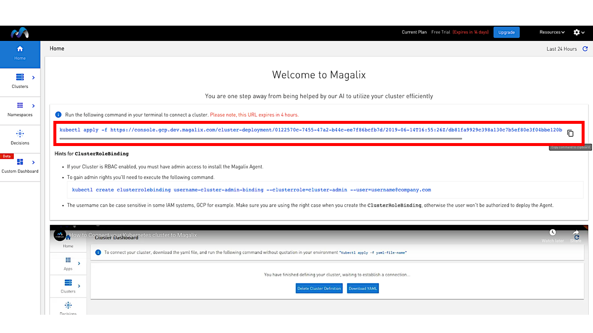 how to get magalix kubectl command to install Magalix agent