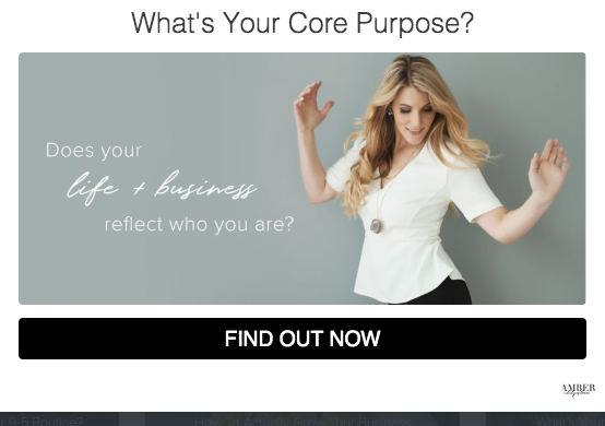 quiz cover for What's your core purpose? and picture of a blond woman