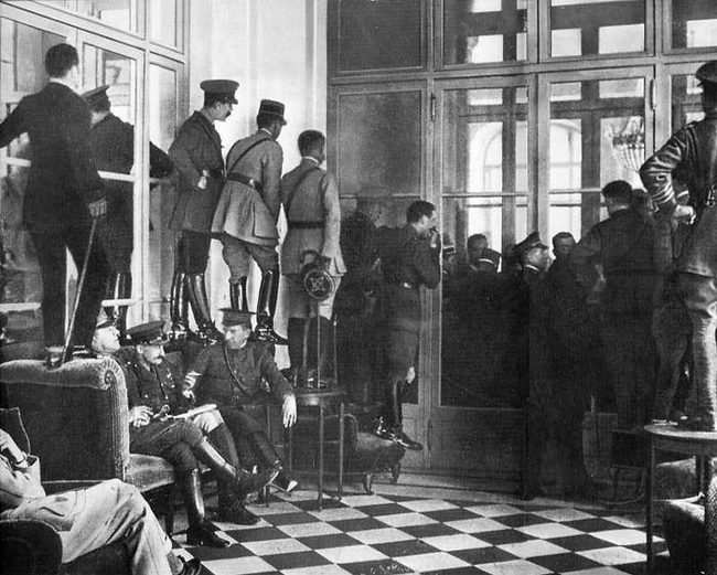 14 - Spectators watch the signing of the Treaty of Versailles