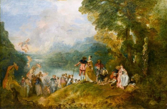 Antoine Watteau, Pèlerinage à l'île de Cythère, dit l'Embarquement pour Cythère, 1717, huile sur toile, Musée du Louvre, Paris
