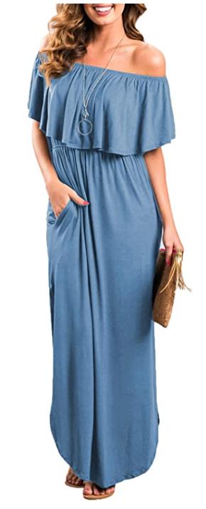 off the shoulder women's dress blue amazon