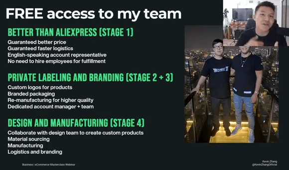 kevin zhang's team available through ecommerce millionare mastery