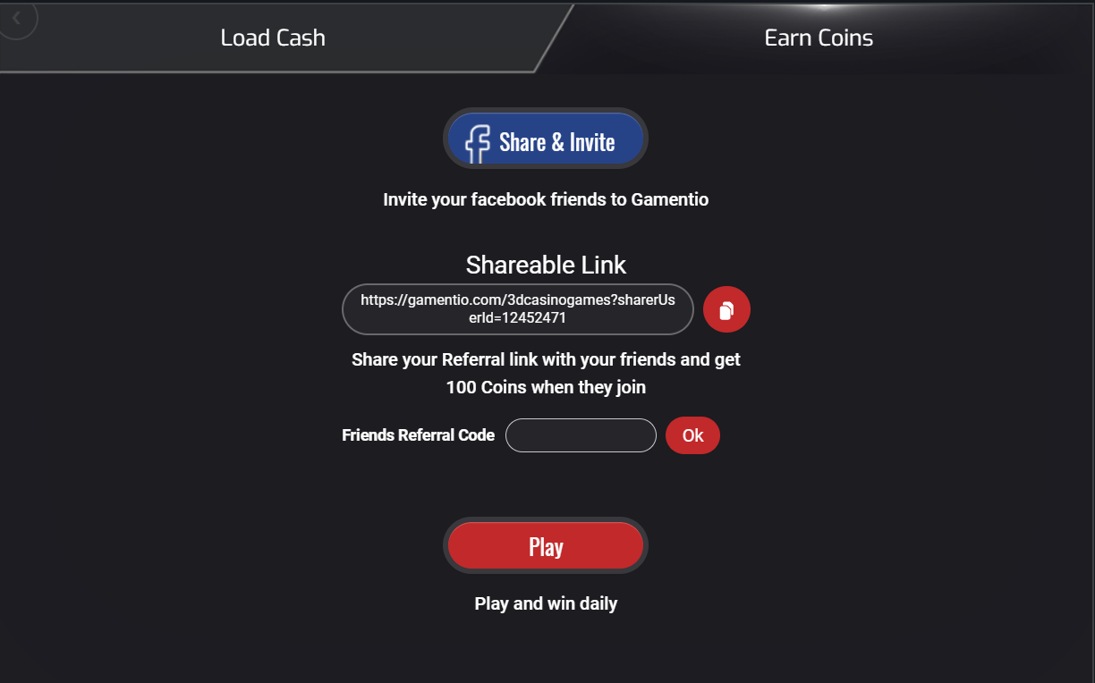Refer a friend bonus on Gamentio