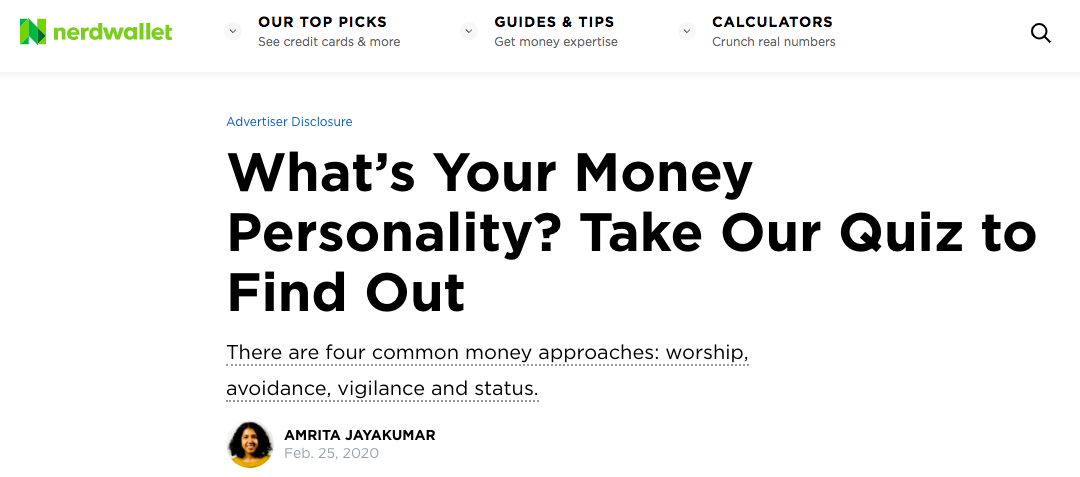 Quiz cover for money personality quiz