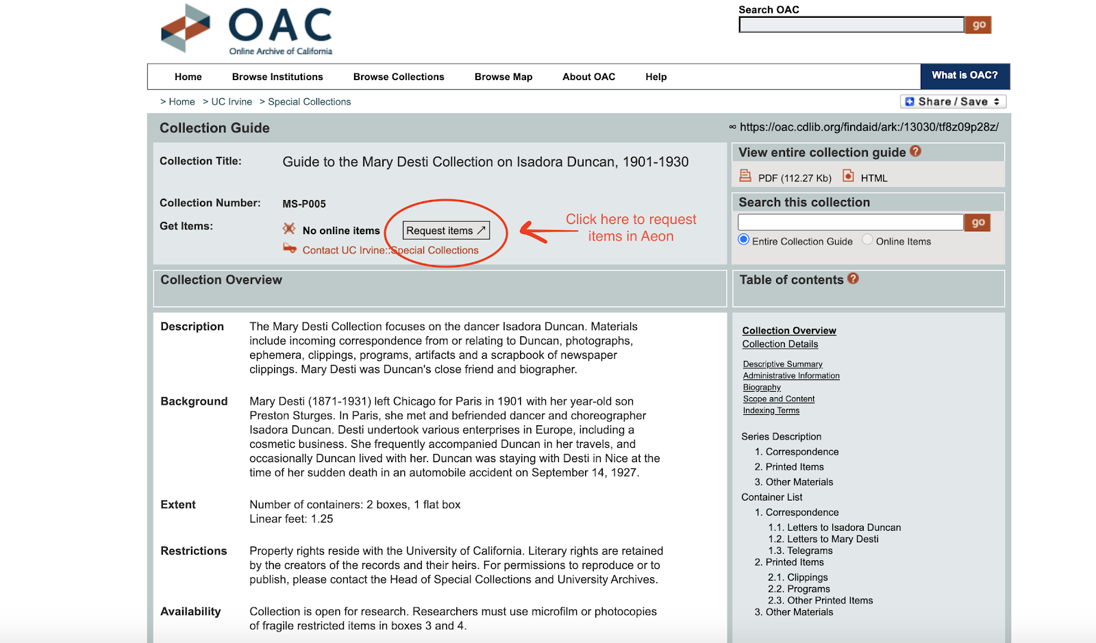 Image of request link in the OAC finding aid